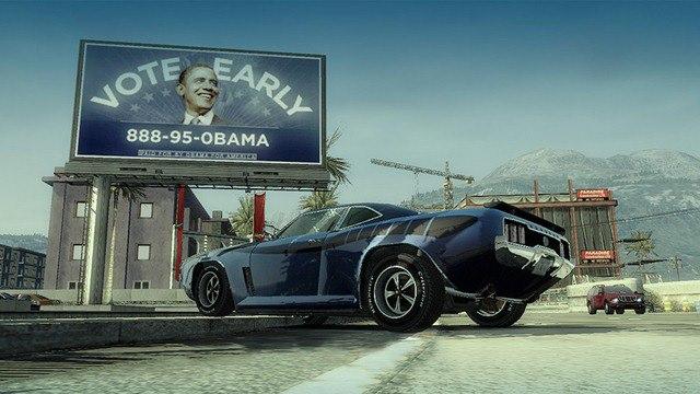 Valla publicitaria de Obama insertada en un videojuego de coches